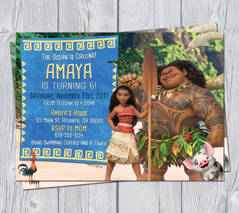Moana Invitation 6x4 Moana Birthday Invitation Moana Party