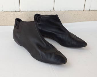 Vintage Black Leather Ankle Boots and Box