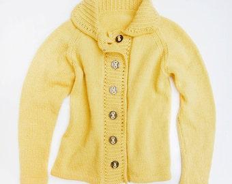 SALE Vintage Handmade Cardigan Like Buttah | Butter Yellow Knitted 1960's 1970's Sweater | Size Med/Large Cozy Knit Cardi