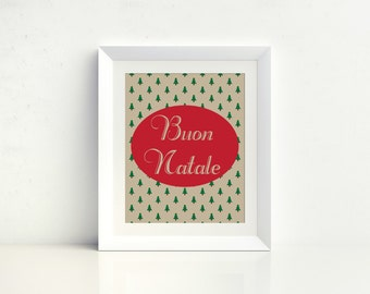 Buon Natale - Italian Christmas, Digital Print, Instant Download