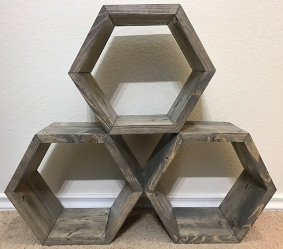 12 Hexagon Honeycomb Shelf In Weathered Grey Set Of