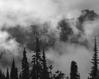 Mt. Rainier Landscape Photography Print, Clouds, Mountains, Trees, Black and White