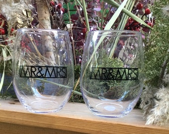 Mr&Mrs Matching Stemless Wine Glass Set | Mr | Mrs | Wine | Couples | Gift