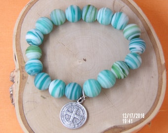 B1272 Greenish Blue Ceramic Bracelet