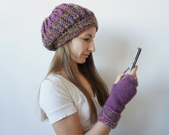 Beanie Hat and Texting Gloves Winter Set, Tam Hat and Fingerless Gloves, Matching Winter Hat and Driving Gloves, Christmas Gift Set