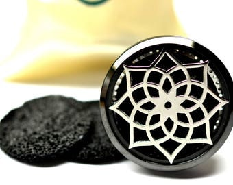 Essential Oil Car Diffuser Accessory // Black Lotus Stainless Steel 38MM // With 3 Lava Stone Diffusers / & Choice of 2ML Essential Oil