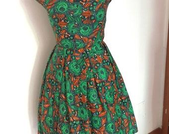 Vintage floral Pleat dress