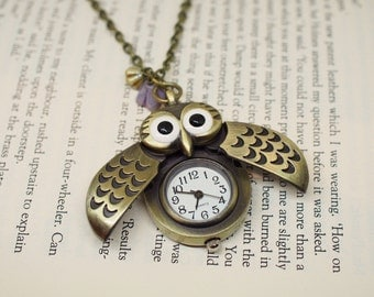 Owl Pocket Watch Necklace with Flowers / Woodland Nature Inspired / Working Watch