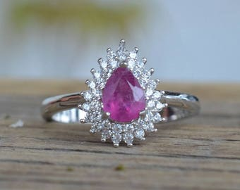 Ruby Ring. July Birthstone Ring. Ruby Gemstone and Sterling silver 925. Silver ring with Natural Ruby. Gift Idea. Present for her.