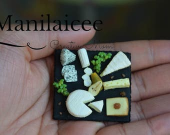 Miniature Cheese Board, french cheese, grapes, nuts, pear, handmade, polymer clay, magnet, collection