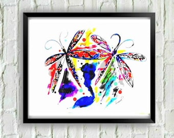 Dragonfly Print,Dragonfly Art, Abstract Print, Dragonfly Wall Art, Dragonfly Painting, Watercolor Dragonfly Print, Dragonfly Decor