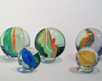 Glass  Marbles , Still life, Painting Original Watercolor Home Decor Fine Art