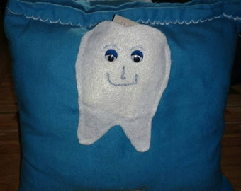 Blue tooth fairy pillows/tooth/tooth fairy/white/blue/pillows/square