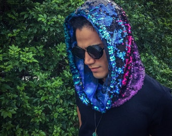 Magic Double-Sided Sequin Hood | magenta / teal / purple / black