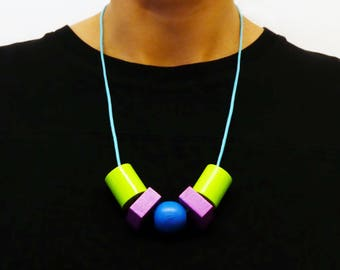 Abacus Earth colours - Geometric Chunky wooden Bead Necklace