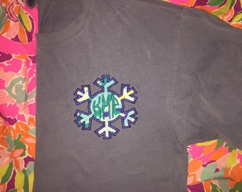 Lilly Pulitzer Winter Snowflake Holiday Monogram Comfort Colors T-shirt Embroidered Applique