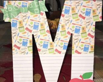 Teacher gift, gift for her, gift for him, custom wooden letter, classroom decor, #1 teacher, thank you gift