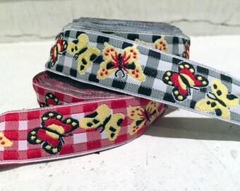 "7/8"" (23mm) butterflies jacquard ribbon"