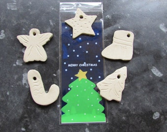 Christmas tree decorations and gift tags - ornaments you can paint at home