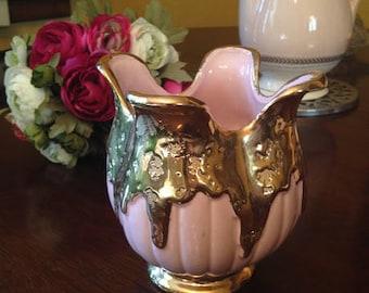 Vintage Pink with Gold Ceramic Vase