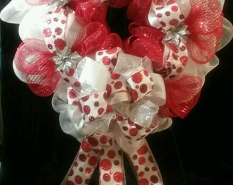 Christmas Wreath- Red & White- Holiday Wreath- Deco Mesh- Christmas Decorations