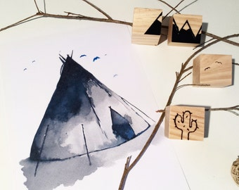 Watercolour Teepee Art Print - Tribal Collection