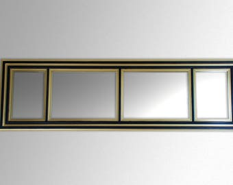 Handmade wood framed mirror decorated with gold and black