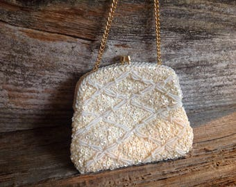 Vintage Cream Beaded and Sequined Wedding/Bridal Evening Bag wedding/bridal/purse/clutch/party/special occasion/prom