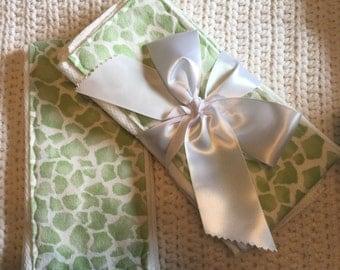 2 Pack Green Giraffe Print Burp Cloth