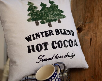 "Hot Cocoa -  pillow cover (18""x18"")"