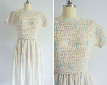 1950s Jonathan Long dress | vintage 50s cotton dress | vintage watercolor dress