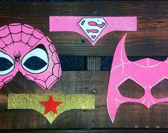 Super girl assorted felt masks, super hero kids masks, marvel collection, super hero dress up costume party favor gift, batgirl spidergirl
