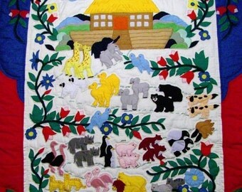 Hand made Noah's Ark appliqued baby toddler nursery crib quilt wall hanging