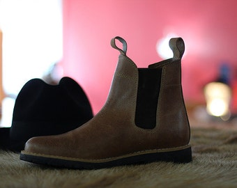 Leather boots Chelsea recycled tyre soles Portuguese vintage! -Top quality!