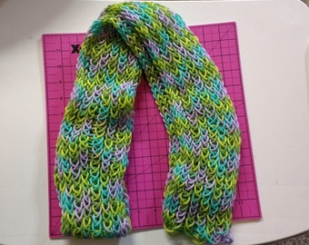 Knitted Scarf - Green Meadows color