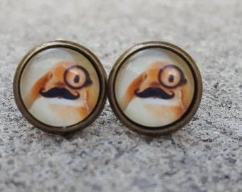 Rabbit Wearing Monocle and Mustache Brass Cabochon Stud Earrings
