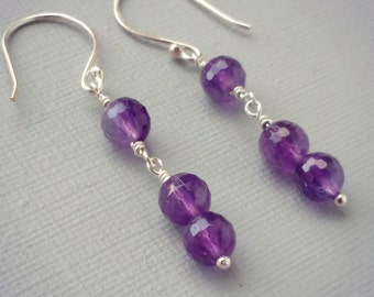 Geometric Two's Company Sterling Silver and Violet Purple Amethyst Minimalist Drop Earrings On Hand forged Sterling Silver Ear Hooks