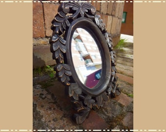 Carved Wooden Mirror, Desk Mirror, Rustic Mirror, Small Mirror for Her, Vintage Mirror, Oval Mirror, Mirror Woman