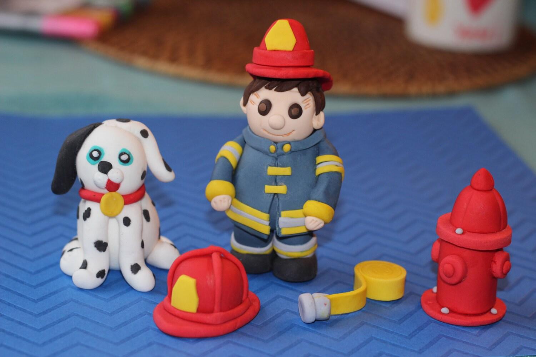 Firefighter Cupcake Decorations Fondant Firefighter Cake Decoration Fireman Birthday Cake Topper