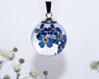 Forget me not - real flower pendant necklace - set in resin - with silver chain, bridal gift, Mother's day