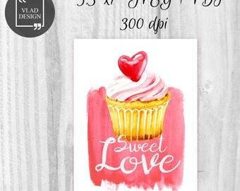 5.3''x 7'' Digital Watercolor Sweet love card St. Valentine's card Love DIY Printable cards Fall in love card Greetings card Love card