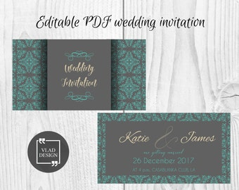 Editable Wedding Invitation Editable PDF Wedding invitation Printable invitation wedding template Custom Romantic invitation