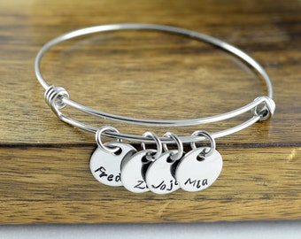 Personalized Bangle Bracelet - Mothers Jewelry - Mother Bracelet - Grandmother Gift - Mothers Bracelet - Name Bracelet - Mother's Gift