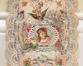 Vintage Layered Valentine Lacy with Cupid Germany