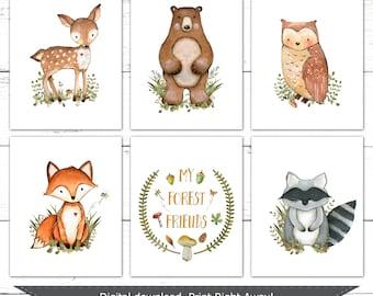 Forest Nursery Decor. Boy Nursery Art. Printable Nursery Art. Boy Woodland Nursery Art. Woodland Nursery Prints. Forest Animals Art. 8x10