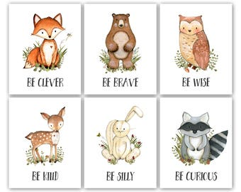 Printable Boy Nursery Art. Forest Nursery Theme Decor. Boy Nursery Posters. Boy Nursery Wall Art. Animals Nursery Printables. Watercolor Art