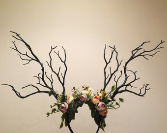 Black Branch Horn Flowers  Nymph Forest Horn Headdress Antlers Blue Yellow Green Pink