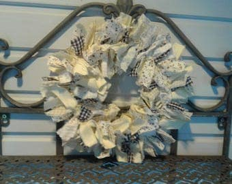 Rag Wreath - Handmade Wreath - Fabric Wreath - Rustic Wreath - Primitive wreath - Rustic Decor - Primitive Decor - Country House Decor -