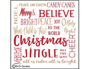 Christmas Subway words SVG DXF EPS Cutting File For Cricut Explore, Silhouette & More. Instant Download. Personal and Commercial Use. Vinyl