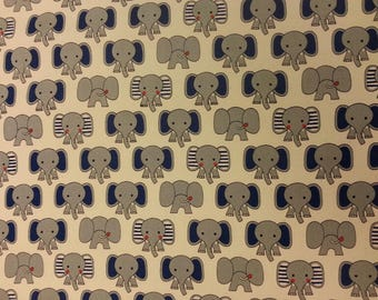 Elephant Fun Fabric 100% Cotton Material By Metre Nursery Curtains Jungle Theme Animals Patchwork Cushions Bags Bunting